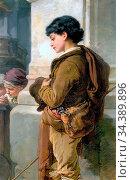 Bach Guido - the Shepherd Boy - German School - 19th Century. Редакционное фото, фотограф Artepics / age Fotostock / Фотобанк Лори