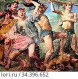 Corinth Lovis - Die Freier IM Kampf Gegen Odysseus - German School... Редакционное фото, фотограф Artepics / age Fotostock / Фотобанк Лори