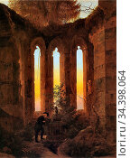 Friedrich Caspar David - Huttens Grab - German School - 19th Century. Редакционное фото, фотограф Artepics / age Fotostock / Фотобанк Лори