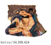 Crumpled stitched scarf from brown silk batik isolated on white background... Стоковое фото, фотограф Zoonar.com/Valery Voennyy / easy Fotostock / Фотобанк Лори
