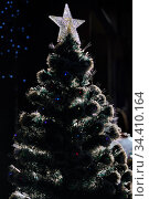 Big decorative star on top of Christmas tree. Стоковое фото, фотограф Alexander Tihonovs / Фотобанк Лори