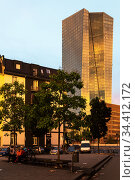 Germany, Frankfurt am Main - Residential building on a square, behind it the European Central Bank (ECB) Редакционное фото, агентство Caro Photoagency / Фотобанк Лори