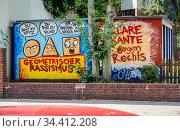 Graffiti against racism, Oberhausen, Ruhr Area, North Rhine-Westphalia, Germany. Редакционное фото, агентство Caro Photoagency / Фотобанк Лори