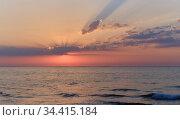Picturesque colorful sunrise over Mediterranean Sea. Стоковое фото, фотограф Alexander Tihonovs / Фотобанк Лори