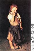 Liebermann Max - Kleines Mädchen - German School - 19th Century. Редакционное фото, фотограф Artepics / age Fotostock / Фотобанк Лори