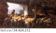 Mali Christian Friedrich - Feeding the Sheep - German School - 19th... Редакционное фото, фотограф Artepics / age Fotostock / Фотобанк Лори