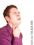 Junger Mann mit Halsschmerzen hält seinen schmerzenden Hals. Стоковое фото, фотограф Zoonar.com/Robert Kneschke / age Fotostock / Фотобанк Лори