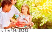 Drei Kinder teilen zusammen eine Wassermelone beim Kindergeburtstag... Стоковое фото, фотограф Zoonar.com/Robert Kneschke / age Fotostock / Фотобанк Лори