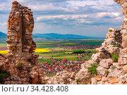 Spring view over Rasnov city through the walls of the Rasnov citadel... Стоковое фото, фотограф Zoonar.com/Arthur Mustafa / easy Fotostock / Фотобанк Лори