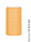 Single orange hair curler, isolated on white background. Стоковое фото, фотограф Zoonar.com/Arthur Mustafa / easy Fotostock / Фотобанк Лори