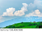 Panoramic view of a spring landscape in the mountains, with a sheepfold... Стоковое фото, фотограф Zoonar.com/Arthur Mustafa / easy Fotostock / Фотобанк Лори