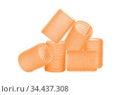 Set of six orange hair curlers isolated on white background, with... Стоковое фото, фотограф Zoonar.com/Arthur Mustafa / easy Fotostock / Фотобанк Лори
