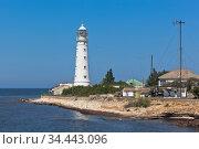 Тарханкутский маяк на западной оконечности Крыма. Стоковое фото, фотограф Николай Мухорин / Фотобанк Лори
