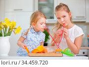 Kinder trinken frisch gepressten Orangensaft mit Strohhalm in der... Стоковое фото, фотограф Zoonar.com/Robert Kneschke / age Fotostock / Фотобанк Лори