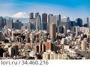 Mountain Fuji with Tokyo skylines and skyscrapers buildings in Shinjuku... Стоковое фото, фотограф Zoonar.com/Vichie81 / easy Fotostock / Фотобанк Лори