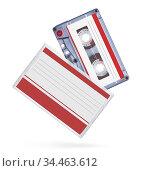 Old audio tape compact cassette with box isolated. Стоковое фото, фотограф Александр Лычагин / Фотобанк Лори