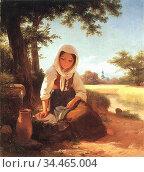 Rumpf Peter Philipp - Madchen Am Brunnen - German School - 19th Century... Стоковое фото, фотограф Artepics / age Fotostock / Фотобанк Лори