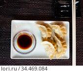 Japanese food gyoza dumplings with meat and shrimp. Стоковое фото, фотограф Яков Филимонов / Фотобанк Лори