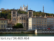 Cityscape of Lyon, town in France at riverside Saone at sunny day. Стоковое фото, фотограф Яков Филимонов / Фотобанк Лори