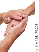 Zwei Hände geben einer anderen Hand Halt und Trost. Стоковое фото, фотограф Zoonar.com/Robert Kneschke / age Fotostock / Фотобанк Лори