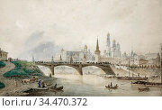 Weiss Joseph Andreas - View of the Moscow Kremlin from the River - ... Редакционное фото, фотограф Artepics / age Fotostock / Фотобанк Лори