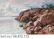 Munsterhjelm Hjalmar - Coastal View with Rocks - Finnish School - ... Редакционное фото, фотограф Artepics / age Fotostock / Фотобанк Лори