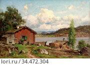 Munsterhjelm Hjalmar - Rantamökkejä - Finnish School - 19th Century. Редакционное фото, фотограф Artepics / age Fotostock / Фотобанк Лори
