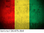 Weathered Flag Of Guinea, fabric textured. Стоковое фото, фотограф Zoonar.com/Ruslan Gilmanshin / age Fotostock / Фотобанк Лори