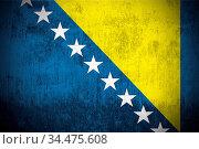 Weathered Flag Of Bosnia and Herzegovina, fabric textured. Стоковое фото, фотограф Zoonar.com/Ruslan Gilmanshin / age Fotostock / Фотобанк Лори