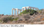 Temple of Poseidon in cape Sounion - Southern Greece. Стоковое фото, фотограф Zoonar.com/Micha Klootwijk / age Fotostock / Фотобанк Лори