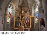 Retables de l'eglise St Wolfgang de Riva di Tures /Rein in Taufers... Стоковое фото, фотограф Christian Goupi / age Fotostock / Фотобанк Лори