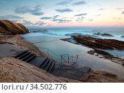 The iconic and famous Blue Pool on a cool autumn evening in Bermagui... Стоковое фото, фотограф Zoonar.com/Chris Putnam / easy Fotostock / Фотобанк Лори
