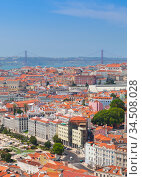 Lisbon aerial view at sunny summer day, Portugal (2017 год). Стоковое фото, фотограф EugeneSergeev / Фотобанк Лори