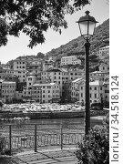 Black and white view of Genova Nervi (2019 год). Стоковое фото, фотограф Роман Сигаев / Фотобанк Лори