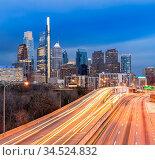 Cityscape of Philadelphia skyscraper Skylines building twilight dusk... Стоковое фото, фотограф Zoonar.com/Vichie81 / easy Fotostock / Фотобанк Лори
