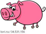 Cartoon Illustration of Funny Comic Pig Farm Animal Character. Стоковое фото, фотограф Zoonar.com/Igor Zakowski / easy Fotostock / Фотобанк Лори