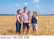 Russian family with two daughters of different ages, pr-teen and infant girls, four people standing on golden wheat field, full-length portrait. Стоковое фото, фотограф Кекяляйнен Андрей / Фотобанк Лори
