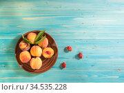 Персики в глиняной тарелке на синем деревянном столе. Свободное место для текста. Вид сверху. Стоковое фото, фотограф Наталья Гармашева / Фотобанк Лори