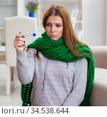 Sick woman suffering from flu at home. Стоковое фото, фотограф Elnur / Фотобанк Лори