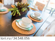 Close Up Abstract of Table Setting in New House. Стоковое фото, фотограф Zoonar.com/Andy Dean Photography / easy Fotostock / Фотобанк Лори
