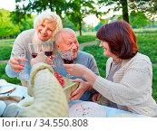 Senioren feiern Geburtstag mit Geschenk und Wein im Garten. Стоковое фото, фотограф Zoonar.com/Robert Kneschke / age Fotostock / Фотобанк Лори