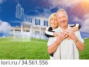 Senior Couple In Front of Ghosted House Drawing, Partial Photo and... Стоковое фото, фотограф Zoonar.com/Andy Dean Photography / age Fotostock / Фотобанк Лори
