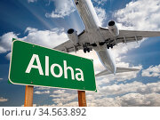 Aloha Green Road Sign and Airplane Above with Dramatic Blue Sky and... Стоковое фото, фотограф Zoonar.com/Andy Dean Photography / age Fotostock / Фотобанк Лори