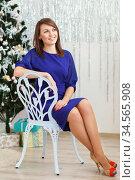 Portrait of a beautiful long-legged slim elegant girl sitting on a chair. Стоковое фото, фотограф Nataliia Zhekova / Фотобанк Лори