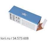 Concept of export, opened paper box - Product of Somalia. Стоковое фото, фотограф Zoonar.com/Micha Klootwijk / age Fotostock / Фотобанк Лори