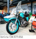 """Мотоцикл """"ИЖ Юпитер 4"""" коляской. Музей мотоциклов. Редакционное фото, фотограф Макаров Алексей / Фотобанк Лори"""