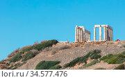 Cape Sounion, Greece, October 22, 2017 : Temple of Poseidon in cape... Стоковое фото, фотограф Zoonar.com/Micha Klootwijk / age Fotostock / Фотобанк Лори