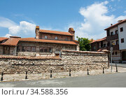 St. Stephen church of 10 century in old historical centre of the town Nesebar, UNESCO World heritage site, Bulgaria. (2019 год). Стоковое фото, фотограф ИВА Афонская / Фотобанк Лори