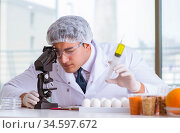 The nutrition expert testing food products in lab. Стоковое фото, фотограф Elnur / Фотобанк Лори