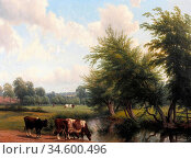 Baker of Leamington Thomas - Cattle Watering by a Stream in a Wooded... Стоковое фото, фотограф Artepics / age Fotostock / Фотобанк Лори